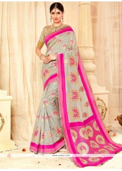 Glowing Tussar Silk Grey And Pink Weaving Work Traditional Designer Saree
