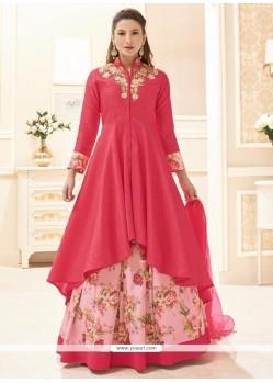 Gauhar Khan Rose Pink Long Choli Lehenga