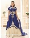 Gauhar Khan Banglori Silk Lace Work Navy Blue Long Choli Lehenga
