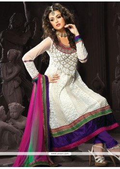 Extraordinary Net Embroidered Work Anarkali Suit