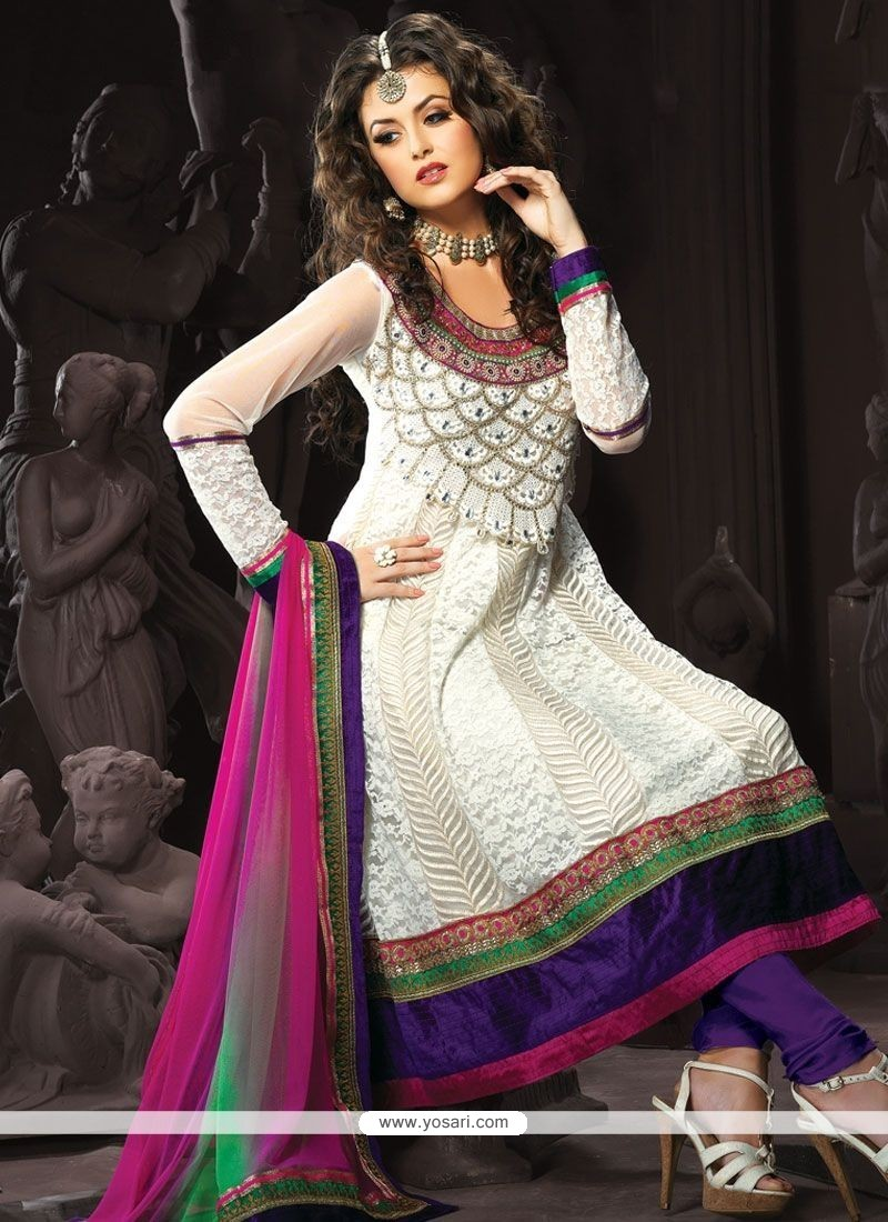 Extraordinary Net Embroidered Work Anarkali Suit