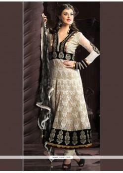 Charming Black And Cream Anarkali Salwar Kameez