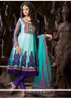 Modest Lace Work Blue Net Anarkali Suit