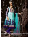 Modest Lace Work Blue Net Anarkali Suit