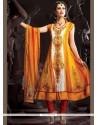 Radiant Net Orange Anarkali Suit