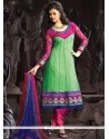 Pretty Green And Hot Pink Anarkali Suit