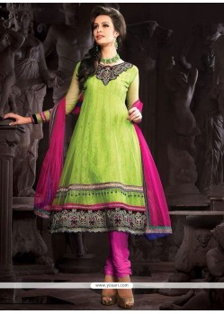 Enthralling Green Lace Work Net Anarkali Suit