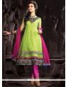 Enthralling Green Lace Work Net Anarkali Suit