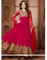 Vivid Lace Work Hot Pink Faux Georgette Floor Length Anarkali Suit