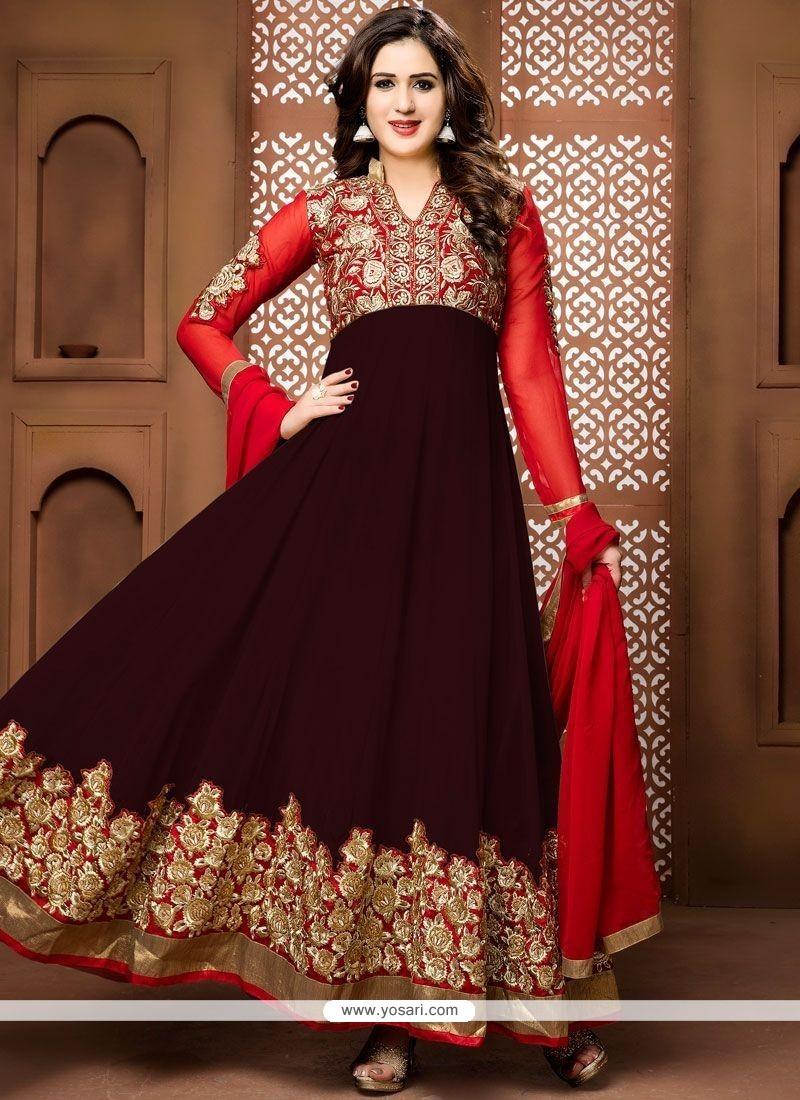Integral Brown Embroidered Work Faux Georgette Floor Length Anarkali Suit