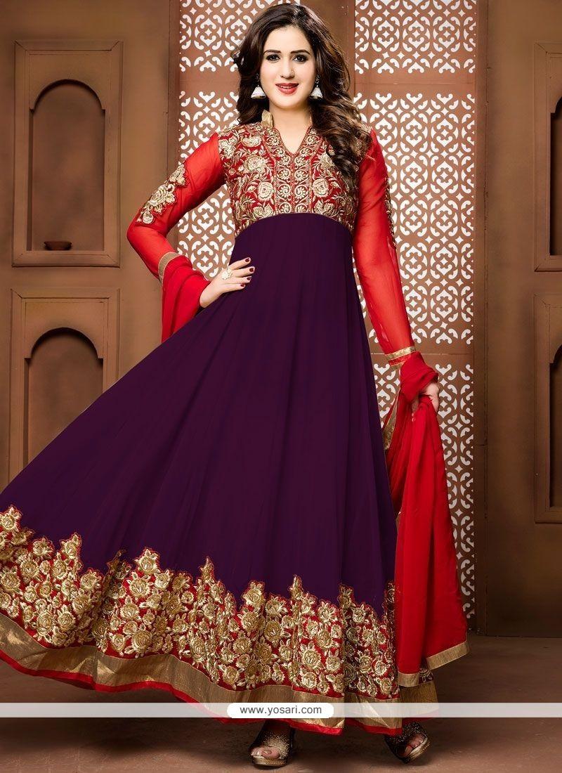 Sunshine Faux Georgette Purple Floor Length Anarkali Suit