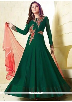 Fashionable Sequins Work Faux Georgette Green Floor Length Anarkali Suit