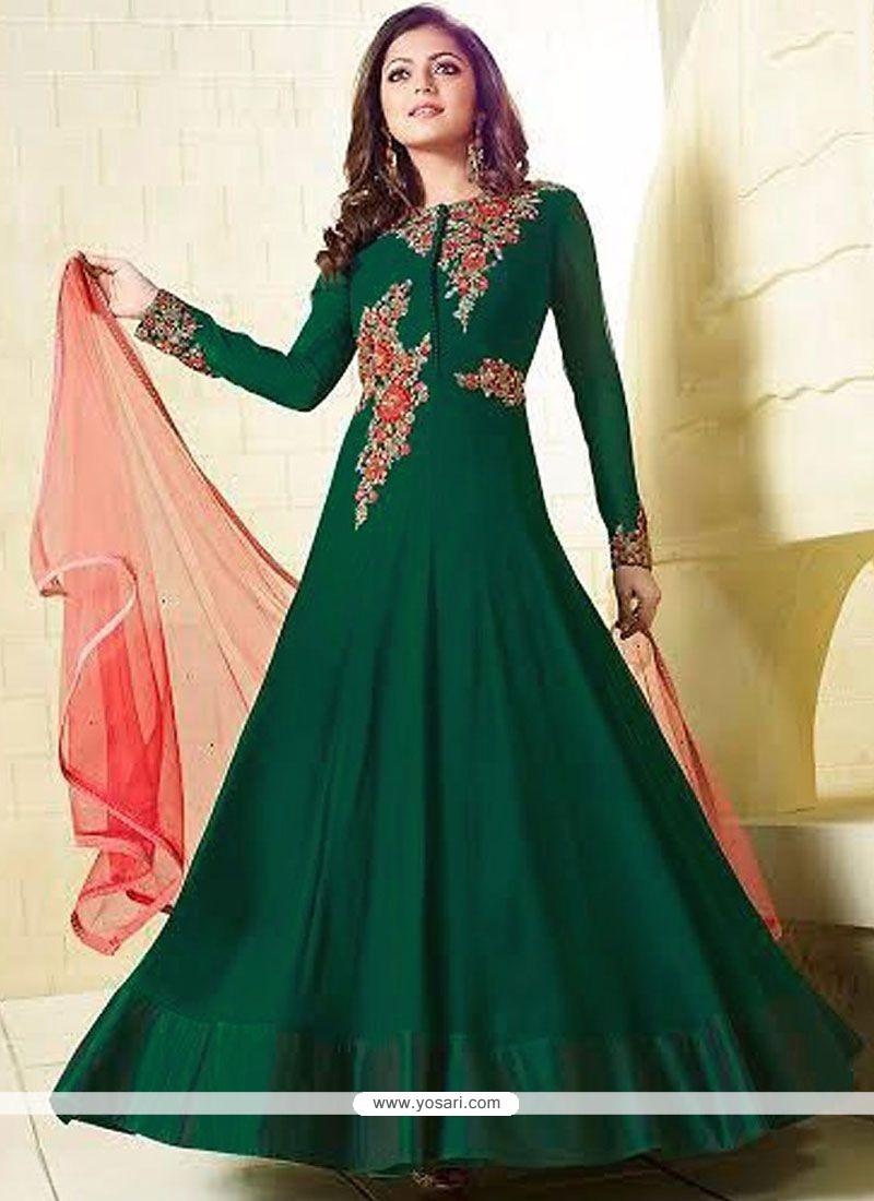 Fashionable Sequins Work Faux Georgette Green Floor Length Anarkali Suit