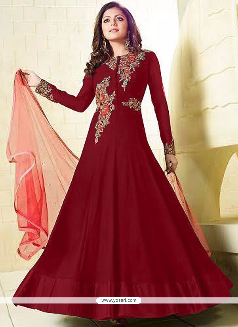 Imperial Embroidered Work Red Floor Length Anarkali Suit