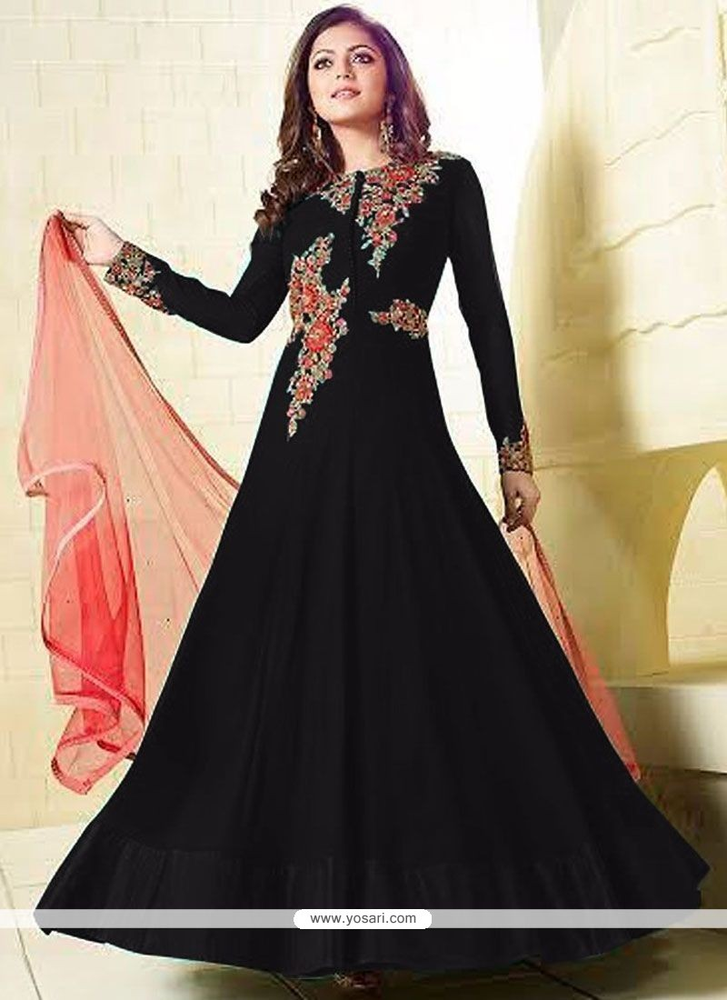 Exceptional Faux Georgette Black Floor Length Anarkali Suit