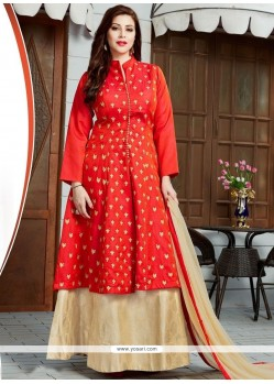 Imposing Embroidered Work Jacquard Floor Length Anarkali Suit