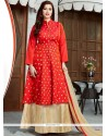 Imposing Embroidered Work Jacquard Floor Length Anarkali Suit