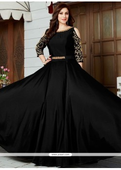 Floral Art Silk Black Floor Length Anarkali Suit