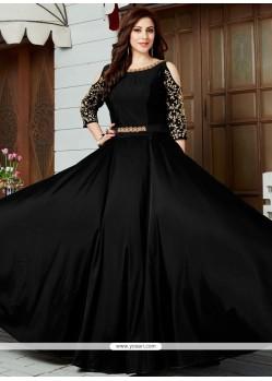 Floral Art Silk Black Floor Length Anarkali Suit