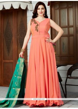 Ideal Orange Floor Length Anarkali Suit