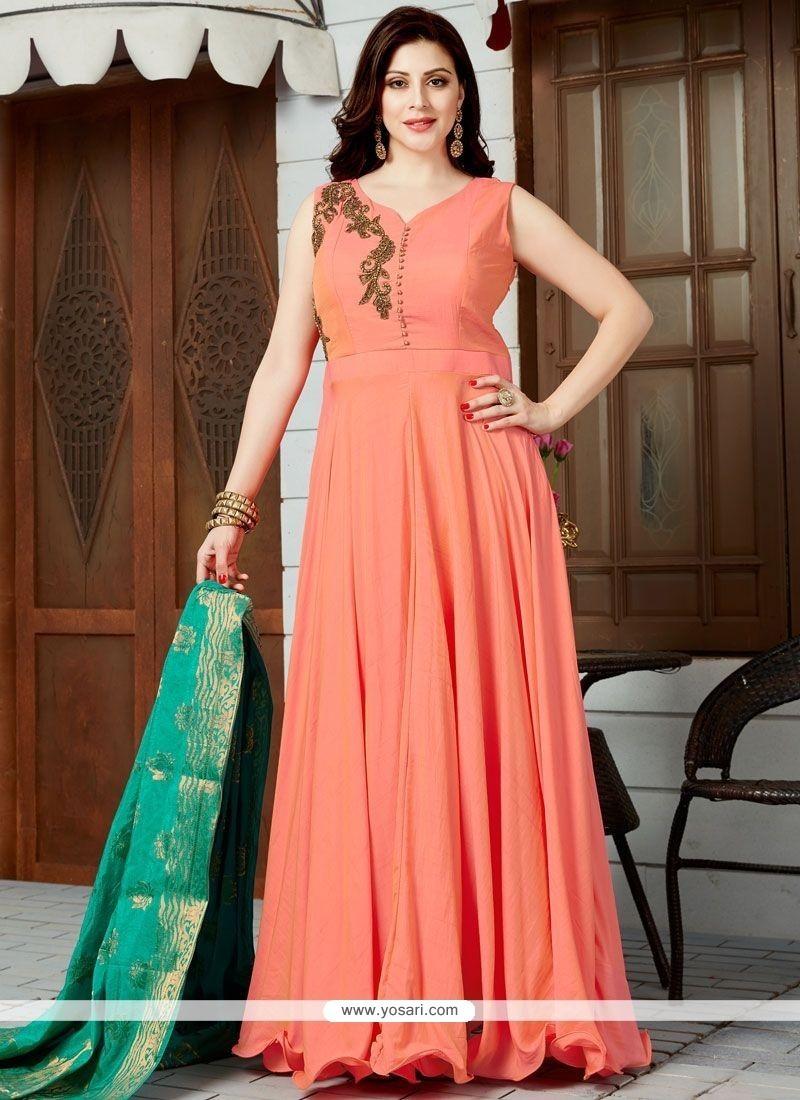 Ideal Orange Floor Length Anarkali Suit