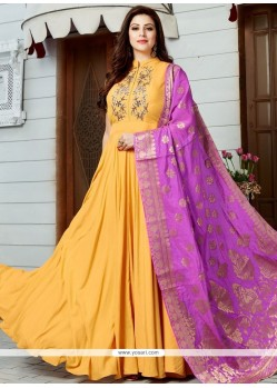 Floral Cutdana Work Art Silk Floor Length Anarkali Suit