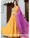 Floral Cutdana Work Art Silk Floor Length Anarkali Suit