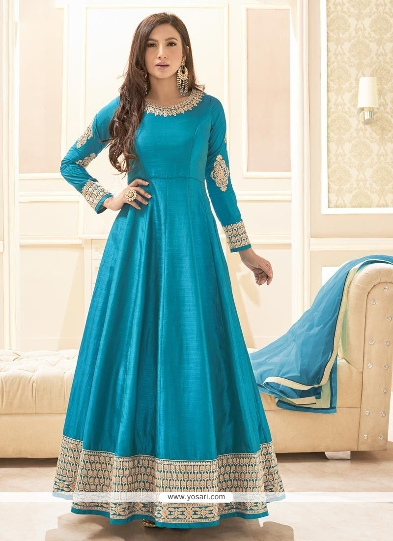 Buy gauhar khan lace work floor length anarkali suit for Floor length suits