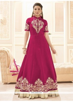 Gauhar Khan Magenta Floor Length Anarkali Suit