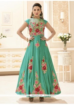Gauhar Khan Embroidered Work Floor Length Designer Suit