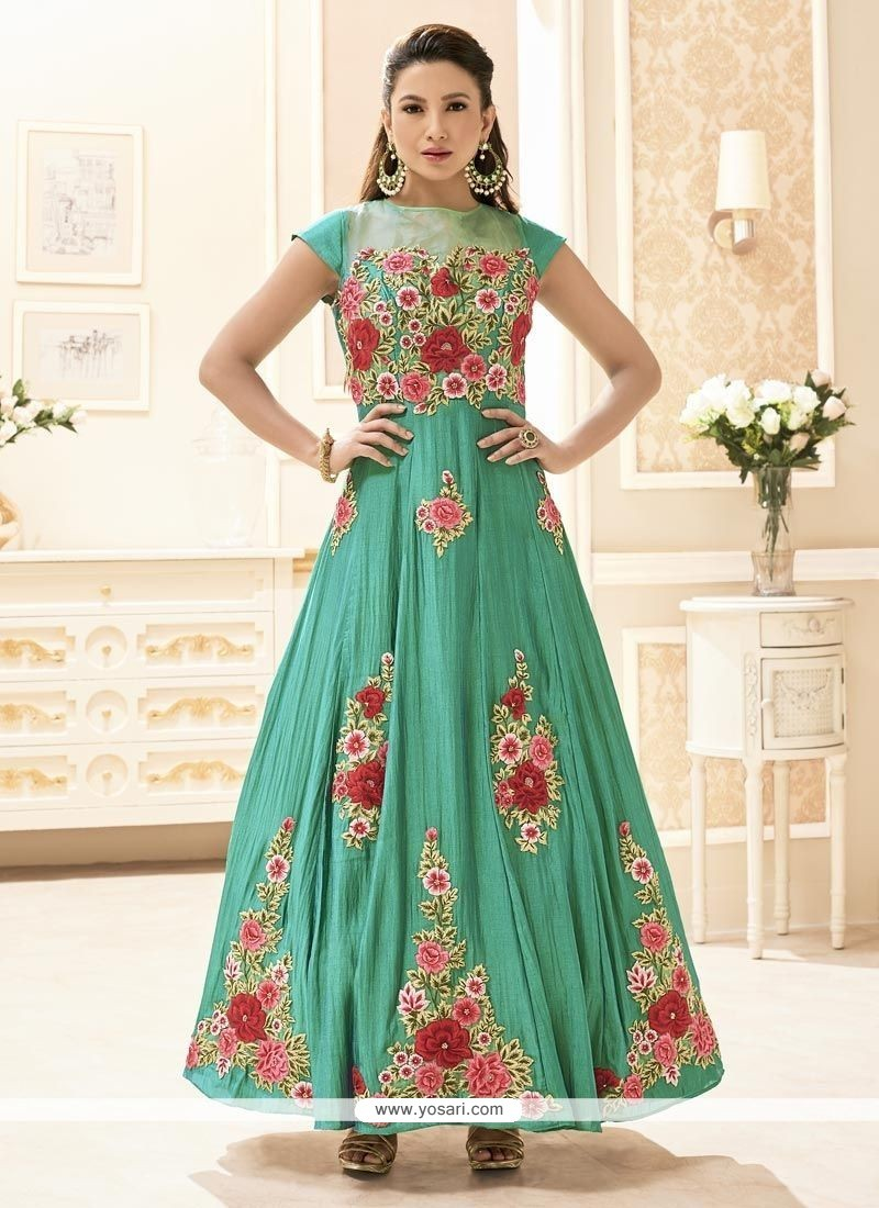 Gauhar Khan Embroidered Work Floor Length Designer Suit