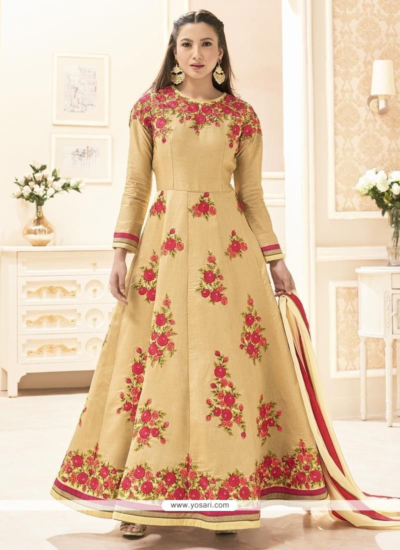 Gauhar Khan Beige Floor Length Anarkali Suit