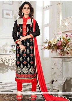 Mystic Lace Work Chanderi Churidar Suit