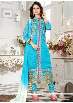 Distinctive Blue Embroidered Work Churidar Suit