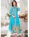Distinctive Blue Embroidered Work Churidar Suit