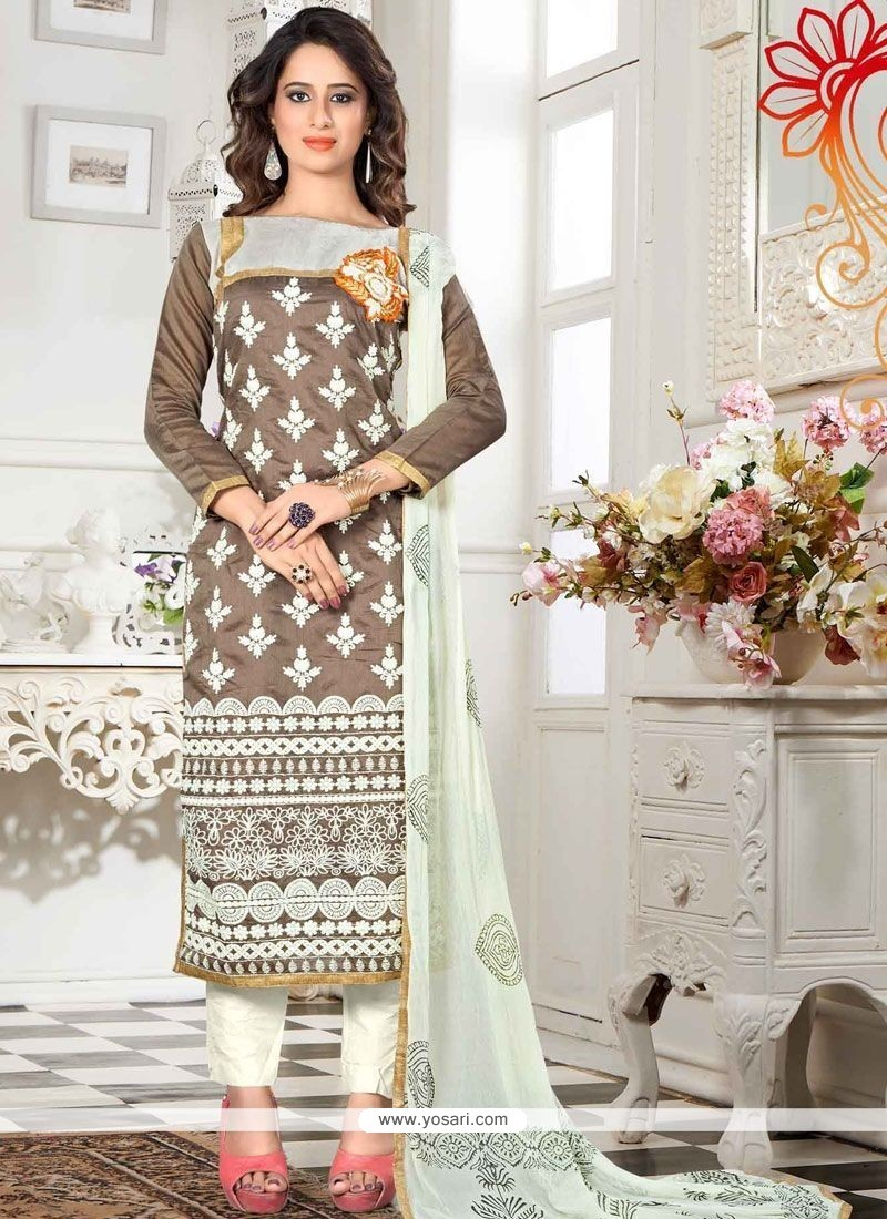 Embroidered Chanderi Churidar Suit In Brown