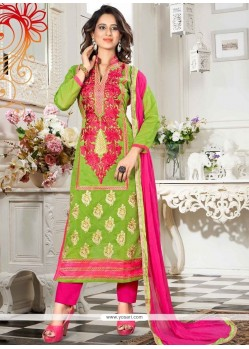 Sensible Lace Work Chanderi Churidar Suit