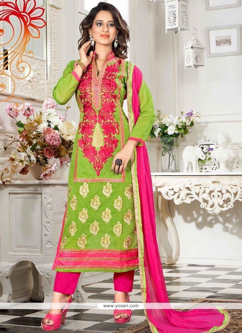 Sensible Lace Work Chanderi Churidar Suit