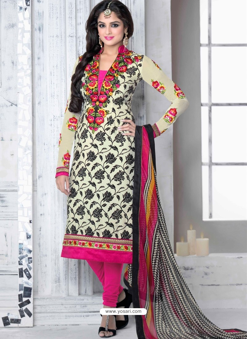 Cream And Pink Crepe Anarkali Suit