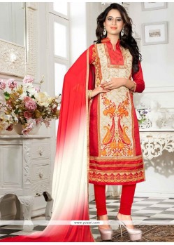 Artistic Chanderi Cream And Red Churidar Suit