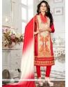 Artistic Chanderi Cream And Red Churidar Suit