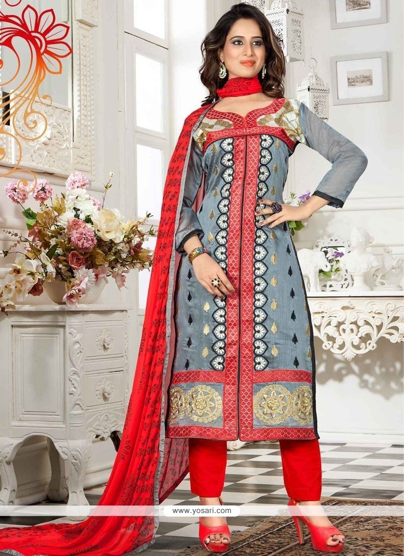 Entrancing Grey And Red Chanderi Churidar Suit