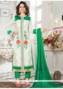 Adorning Chanderi Resham Work Churidar Suit
