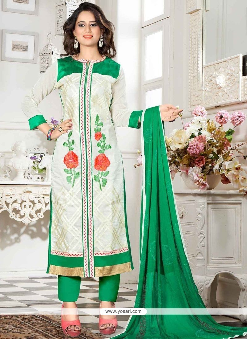 Adorning Chanderi Resham Work Churidar Suit