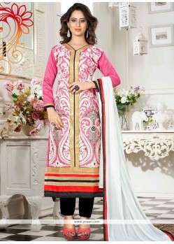 Impeccable Chanderi Lace Work Churidar Suit
