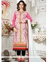 Impeccable Chanderi Lace Work Churidar Suit