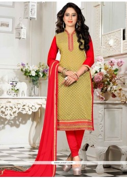 Integral Lace Work Green And Red Churidar Suit