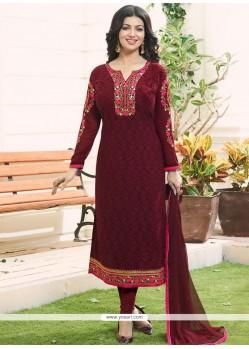 Ayesha Takia Maroon Faux Georgette Churidar Designer Suit