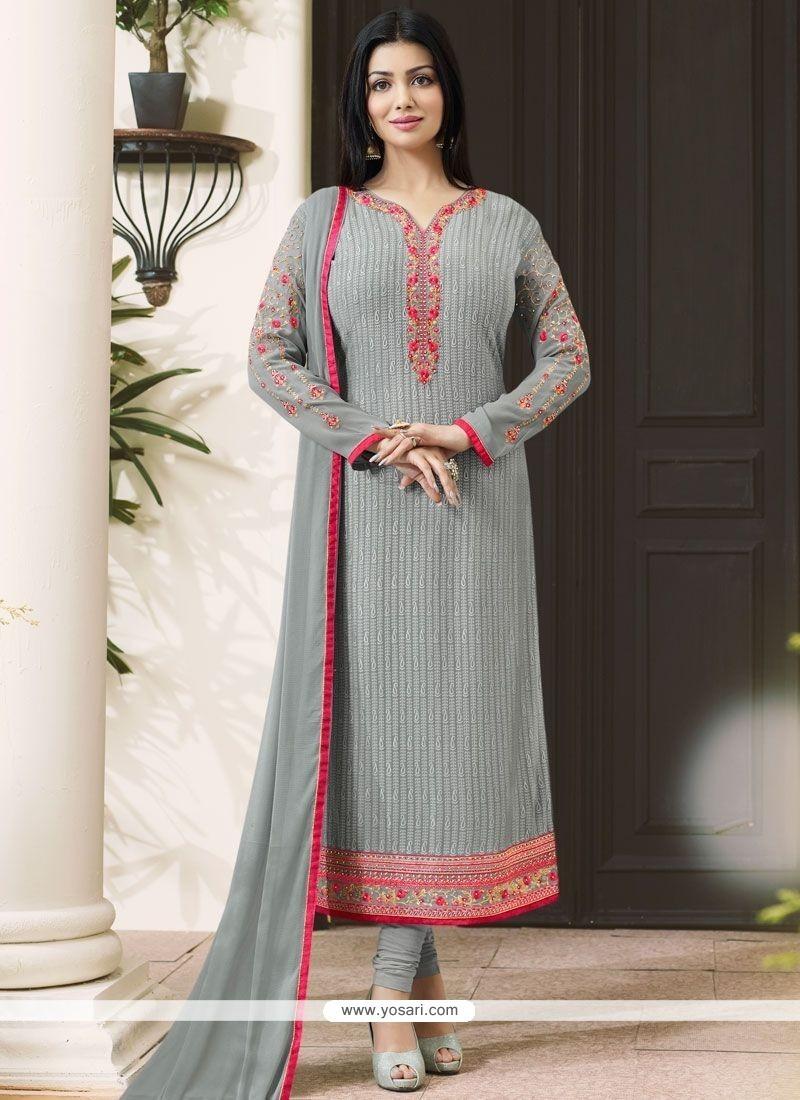 Ayesha Takia Grey Lace Work Churidar Designer Suit
