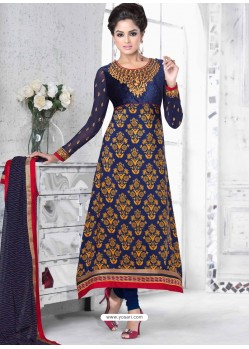 Navy Blue And Mustard Crepe Anarkali Suit